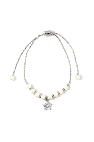 Rhinestone Star Charm Pearl Adjustable Bracelet