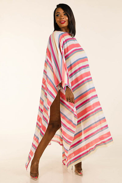 Multi Stripe Woven Cover Up