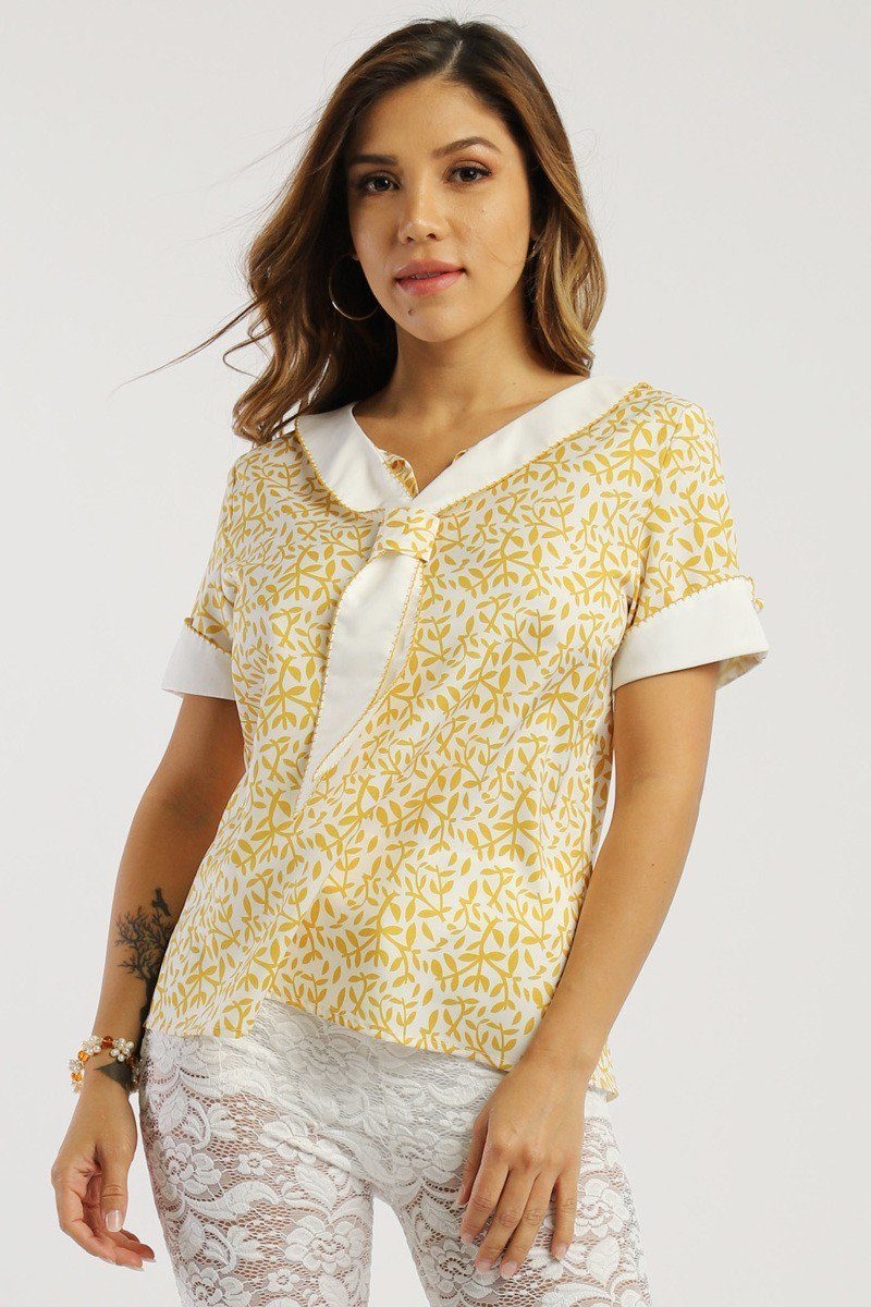 Floral Print, Sailor Girl Relaxed Top