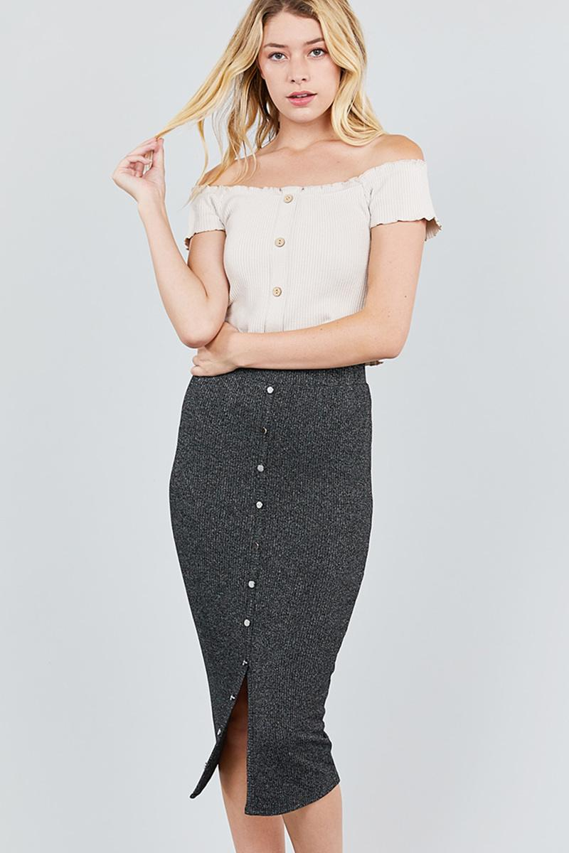 Front Button Down Detail Tow Tone Knit Midi Skirts