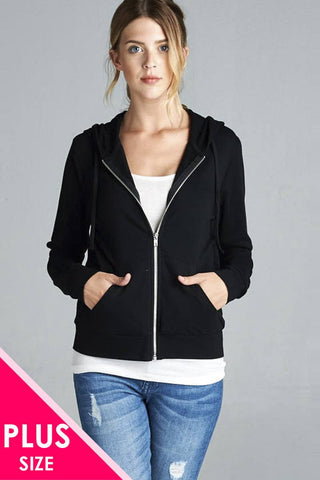 Long Sleeve Zipper French Terry Jacket W/ Kangaroo Pocket