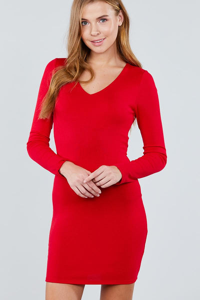 Long Sleeve V-neck Knit Mini Dress