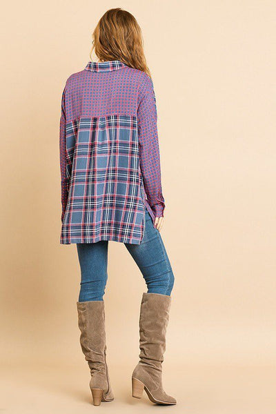 Plaid And Checkered Print Long Roll Up Sleeve Button Front Collared Top With Chest Pocket