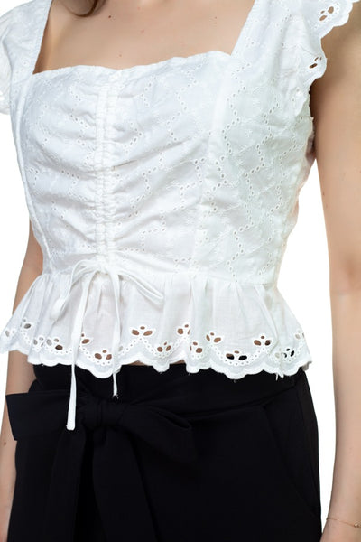 Embroidered Ruffle Cropped Top