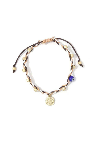 Evil Eye Coin Beaded Adjustable Bracelet