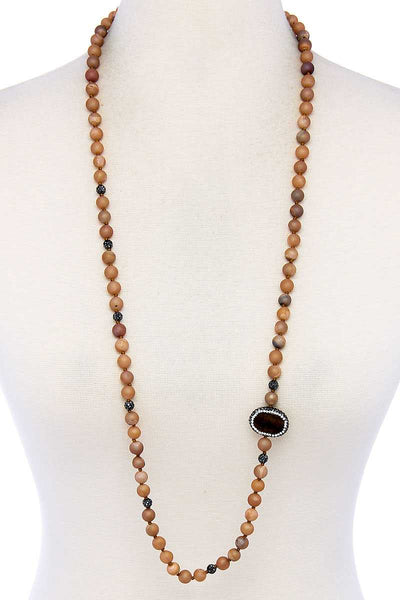 Multi Beaded And Stone Long Necklace