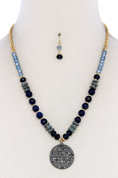 Beaded And Circle Pendant Necklace And Earring Set