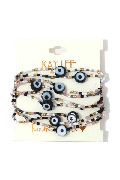 Evil Eye Beaded Stretch Bracelet Set