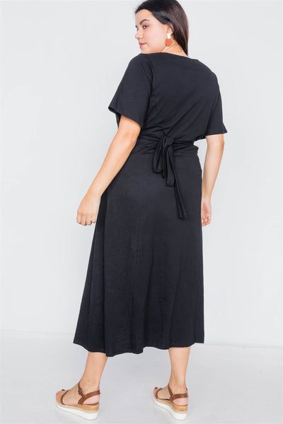 Plus Size Cotton V-neck Wrap Opal Button Down Maxi Dress