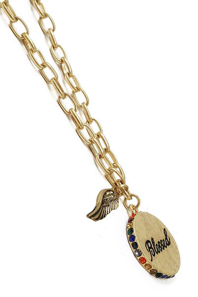 Fashion Side Rhinestone Circle Blessed Pendant And Wing Necklace