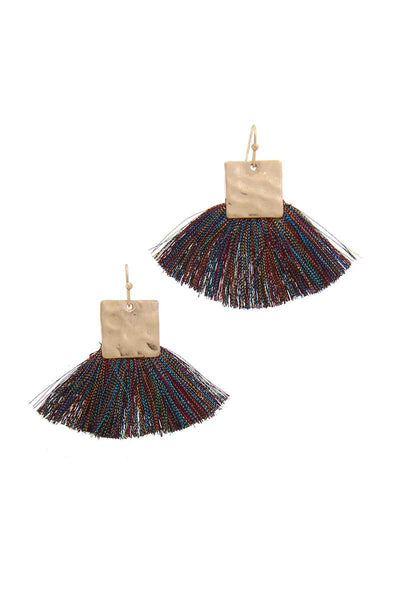 Hammered Metal Square Fan Tassel Drop Earring