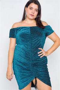Plus Size Ruched Draw String Center Mini Glitter Dress