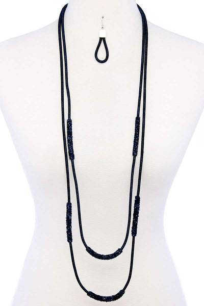 Double Layer Chic Long Necklace And Earring Set