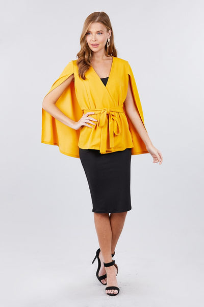 Open Peaked Front W/belt Detail Cape Jacket