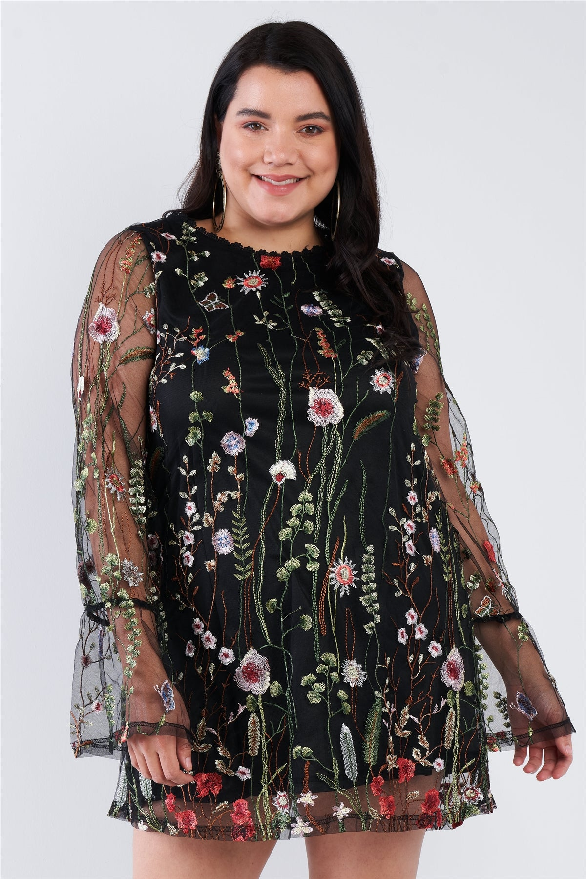 Plus Size Floral Mix Sheer Mock Lace Neck Mini Dress
