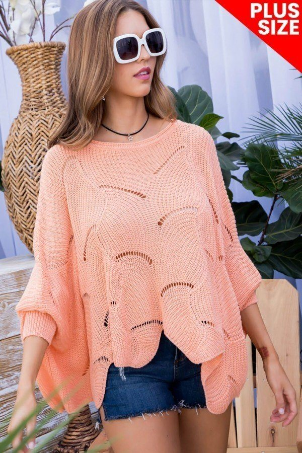 Plus Size Round Neck Long Batwing Sleeve Scalloped Edge Sweater