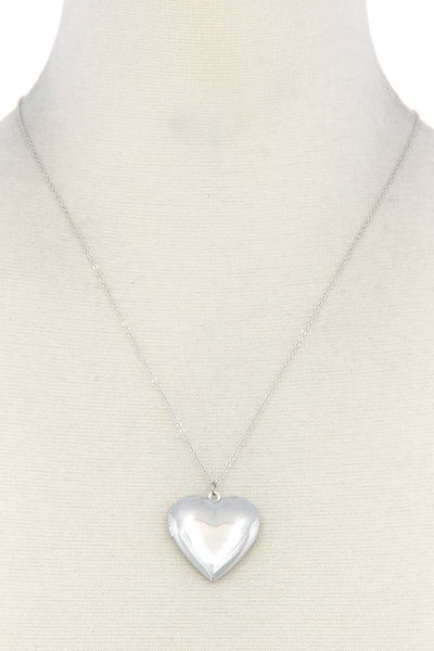 Puffy Metal Heart Locket Necklace