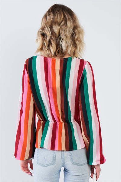 Multi Stripe V-neck Flounce Trim Peplum Top