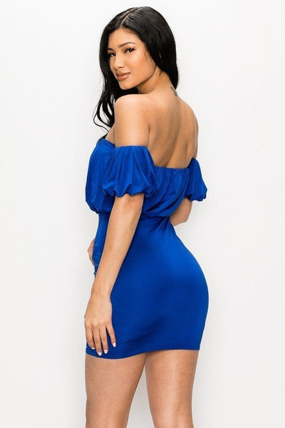 Off-the-shoulder Puff Sleeve Mini Dress
