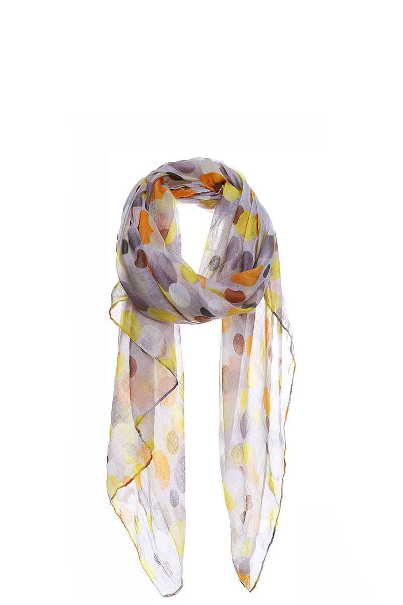 Stylish Chiffon Multi Dots Print Scarf