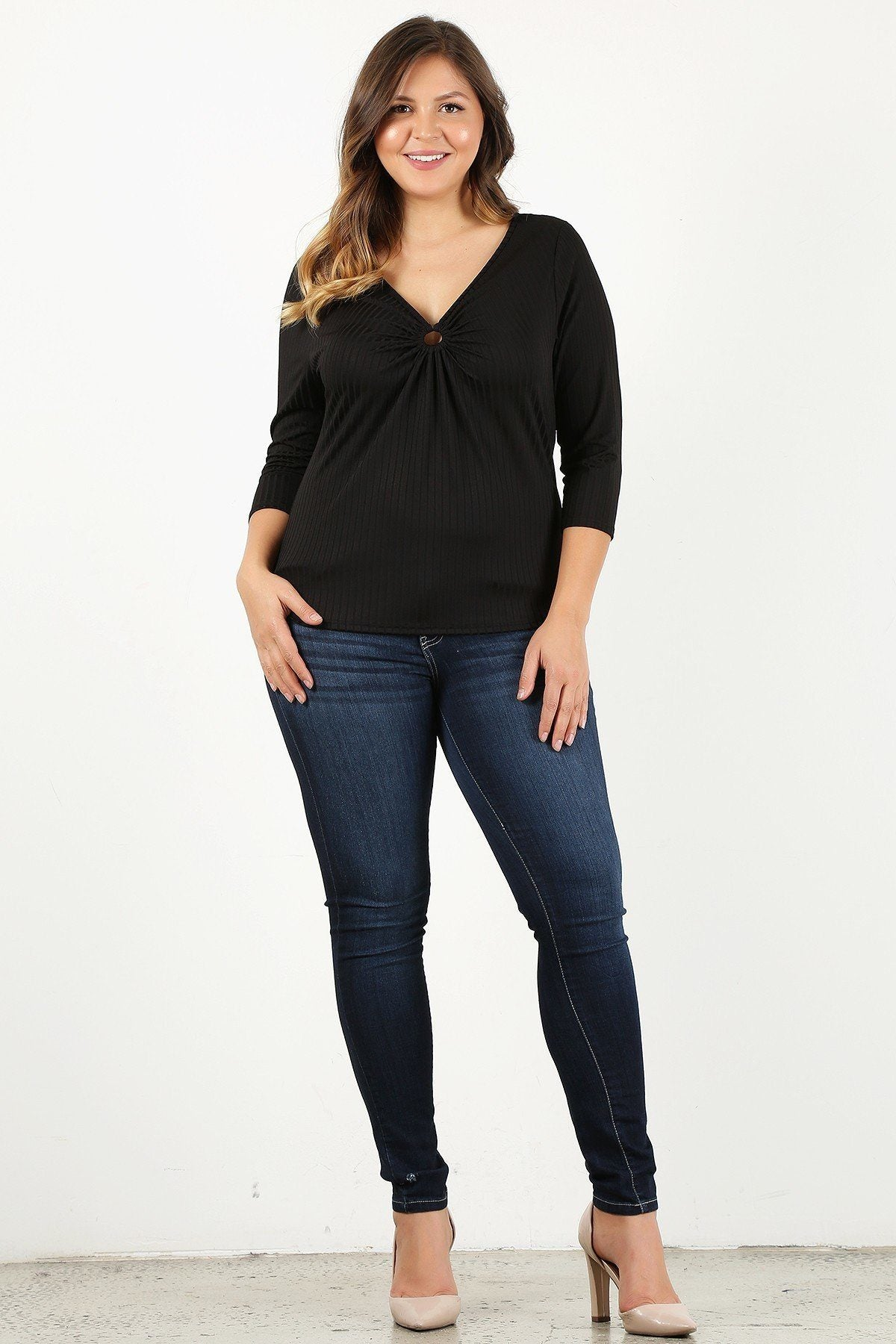 Plus Size 3/4 Sleeve V-neck With Gathered O-ring Detail At Bust