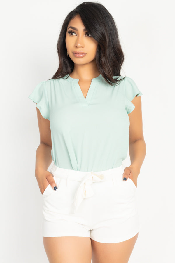 Split V Band Collar Ruffle Sleeve Top