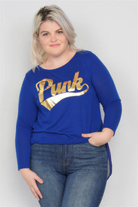 "Plus Size ""punk"" Graphic Print Long Sleeves Sheer Back Hi-lo Top"