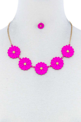 Fashion Cute Multi Tender Flower Necklace And Earring Set