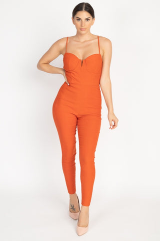 V Wire Skinny Jumpsuit