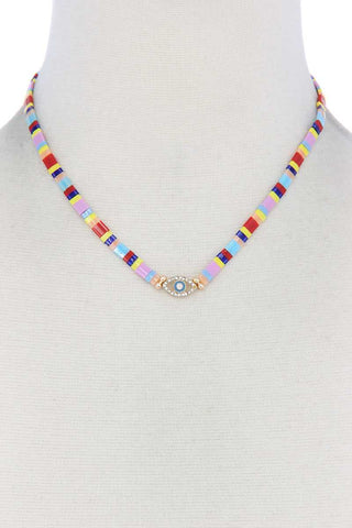 Evil Eye Charm Color Block Necklace