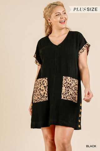 Animal Print Short Folded Sleeve V-neck Dress With Side Buttons And Front Pockets