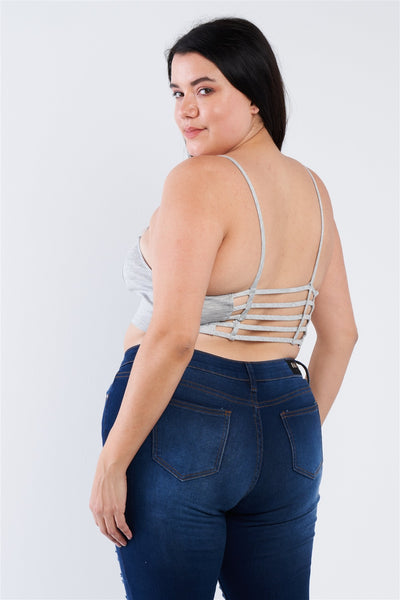 Plus Size Open Stripe Back Cami Strap Athletic Lounge Bra
