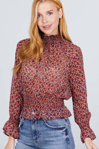 Long Ruffled Raglan Sleeve Mock Neck Smocked Detail Print Woven Top