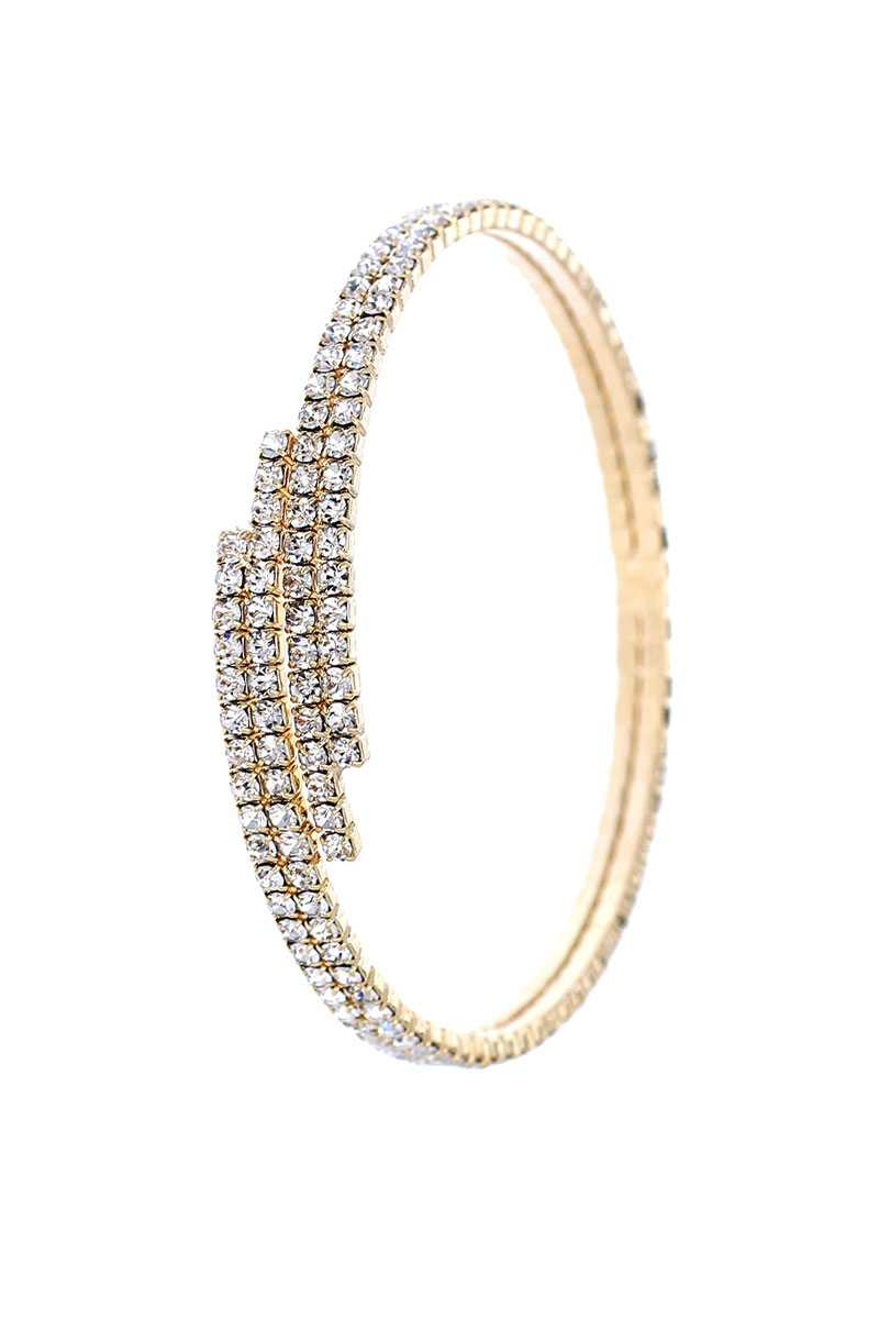 Designer Multi Rhinestone Endless Memory Wier Bracelet Bangle