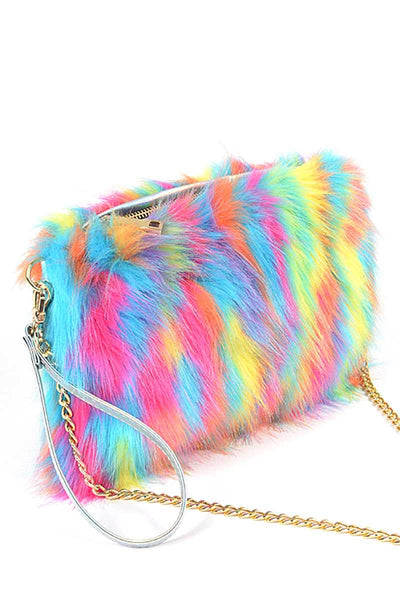 Bright Multi Faux Fur Pouch Bag