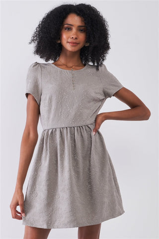 Silver Grey Floral Embroidery Round Neck Short Sleeve Mini Dress