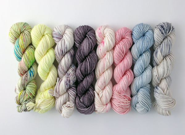 Mix and Match ~ 50/50 Superwash Merino / Silk ~ Mini Skeins ~ 25g ~ 50y ~ 8 colorways