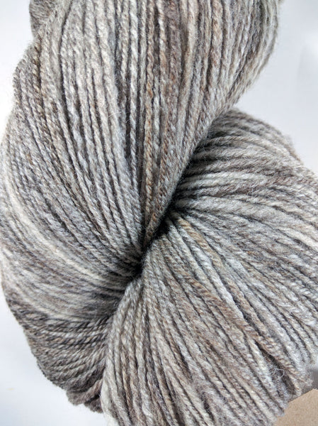 Natural Grey - fingering weight - Double Skein - Handspun CVM Romeldale Wool Yarn