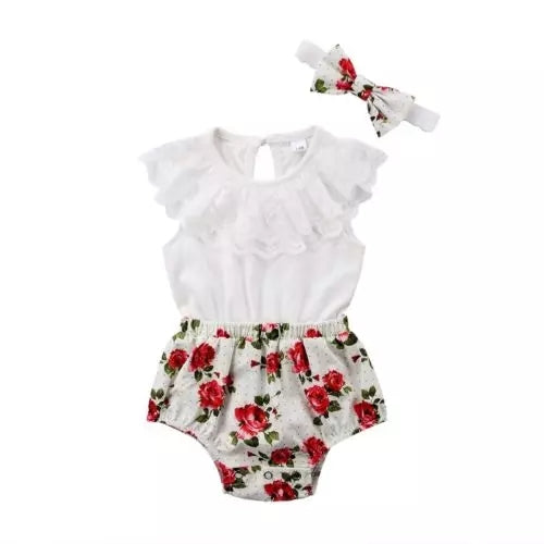 Floral Shorts Romper & Headband Set