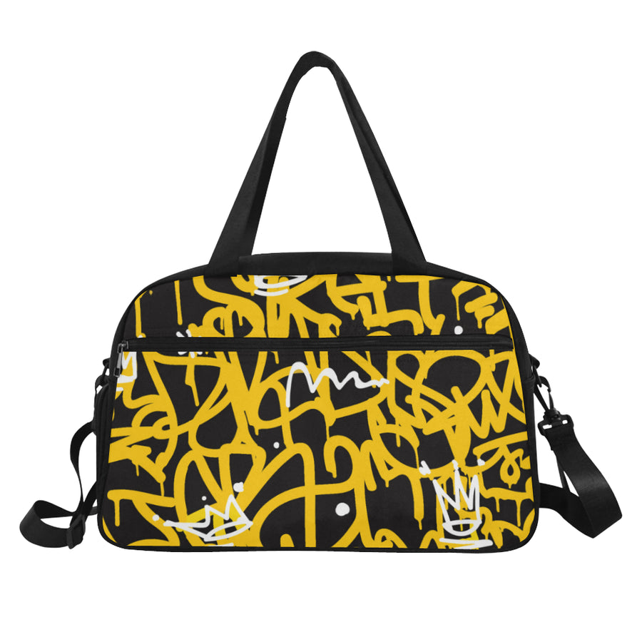 Yellow Graffiti Fitness Handbag