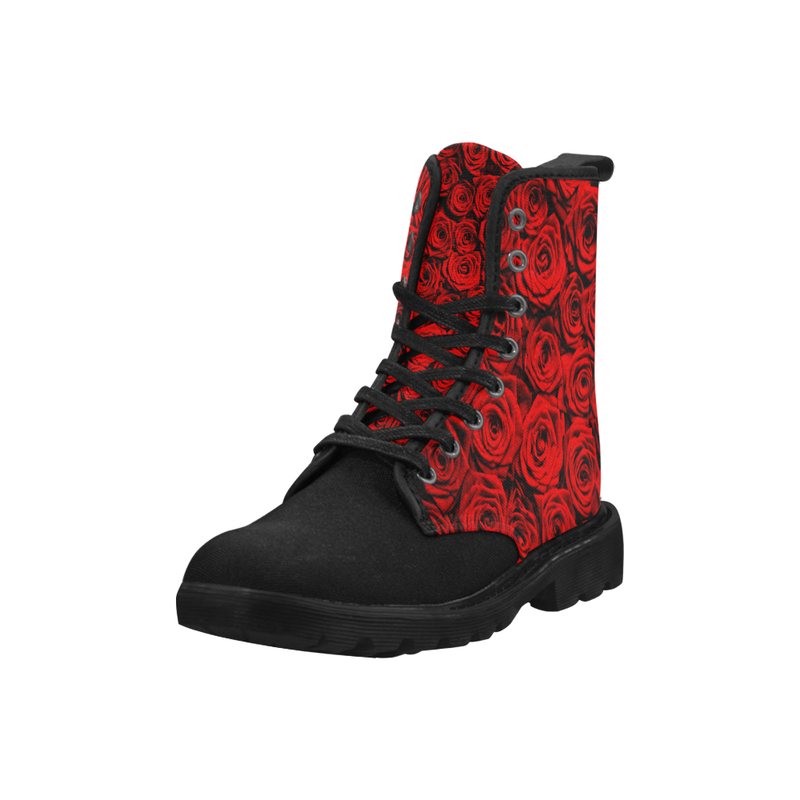 Red Roses Combat Boots - black