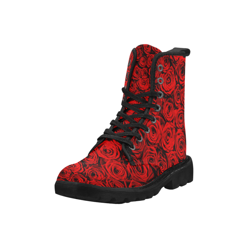 Red Roses Combat Boots