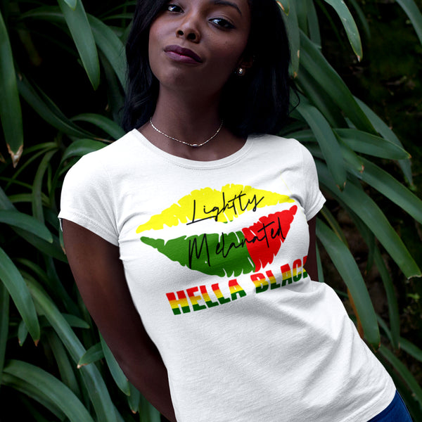 Lightly Melanated & Hella Black TShirt - white