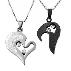 34c49d18a4 ... His and Hers: Stainless Steel I Love You Heart Couple Necklace ...