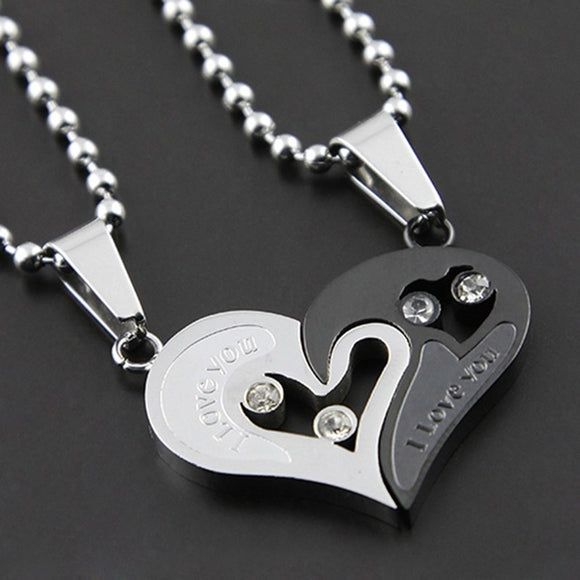 His and Hers: Stainless Steel I Love You Heart  Couple  Necklace