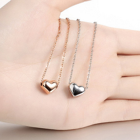Love Heart Pendant Necklace Charm Silver & Rose Gold