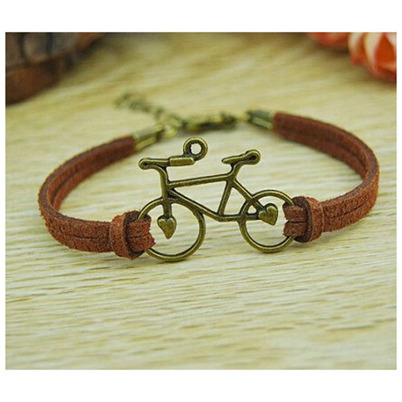 Women Jewelry Vintage Leather Rope Bicycle Charm Bracelets Personalized Handmade Rope Chain Bike Wrap Bracelet Cuff Bangle Cheap