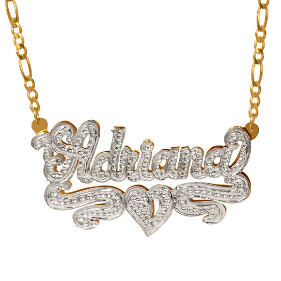 Double-Plate Rhodium Beaded Name Necklace