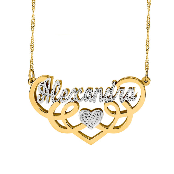 Fancy Double Plate With Dimond Cut Name Necklace