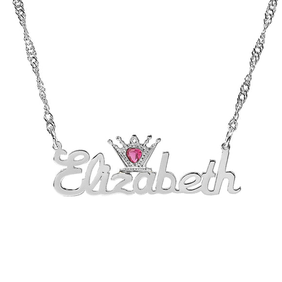 Personalized Rhodium & Jewel Crown Name Necklace
